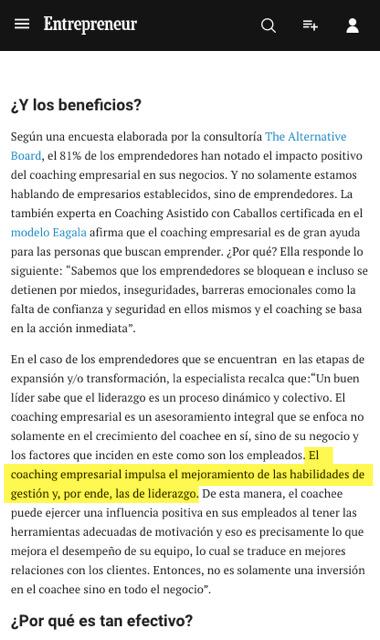 Coaching empresarial - el efecto de coaching para transformar organizaciones en Entrepreneur.com