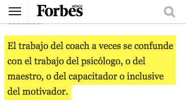 El trabajo del coach a veces se confunde con el trabajo del psicologo - Forbes