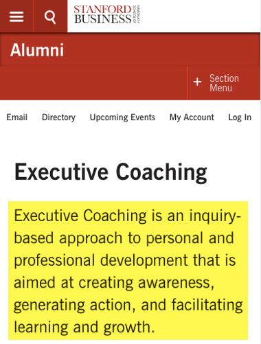 coaching ejecutivo para el desarrollo personal en Stanford