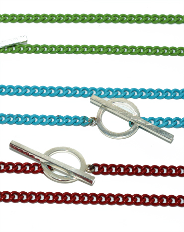 Summer coloured chains with silver t bar claps by Robyn Wernicke.