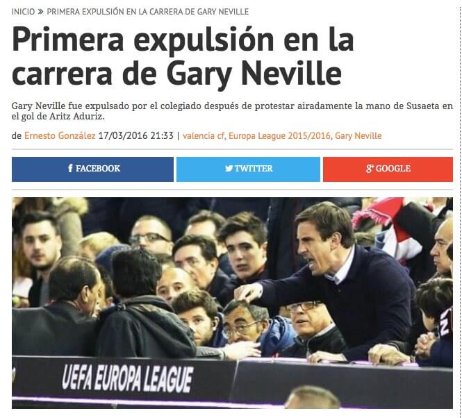 Primera expulsión en la carrera de Gary Neville