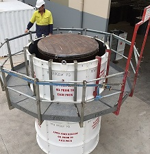 Scaffold for Round Concrete Manhole Forms