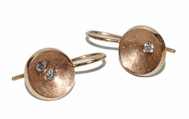 9ct rose gold diamond drops by Robyn Wernicke