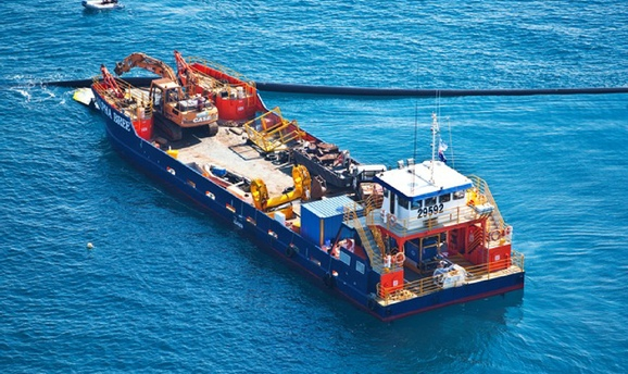 Directhit Trenchless ship with plant hire aboard Australia-wide Perth, Brisbane, Sydney, Melbourne