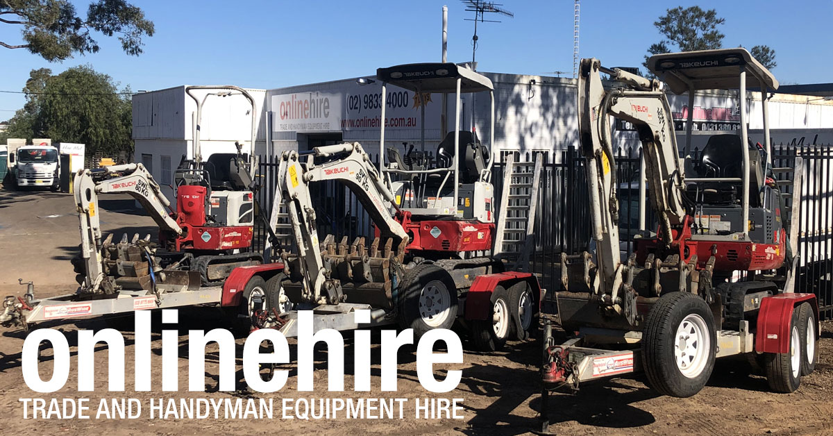 At Online Hire we hire mini excavators with a variety of attachments.
