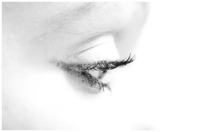 A black and white photograph of a model's eye by Norwich based photographer P Carver