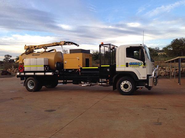 Ezali Hydro Excavations & Communications hydro excavation vacuum truck onsite in Toowoomba