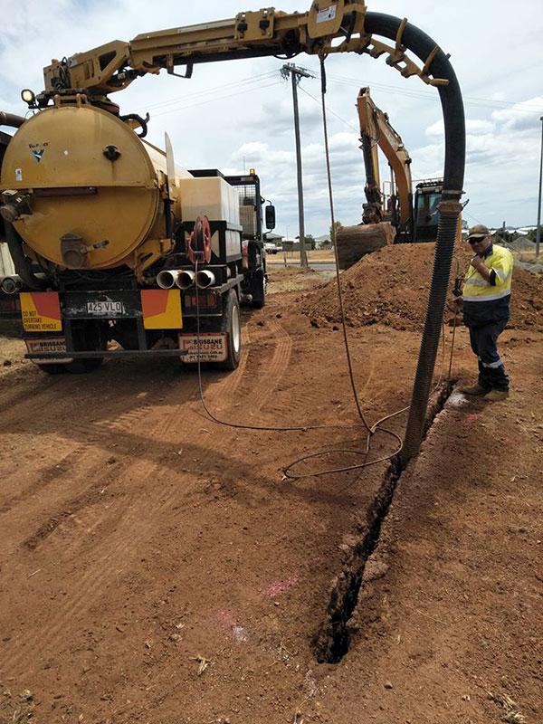 Ezali Hydro Excavations & Communications hydrovac vacuum trucks strip trenching in Toowoomba