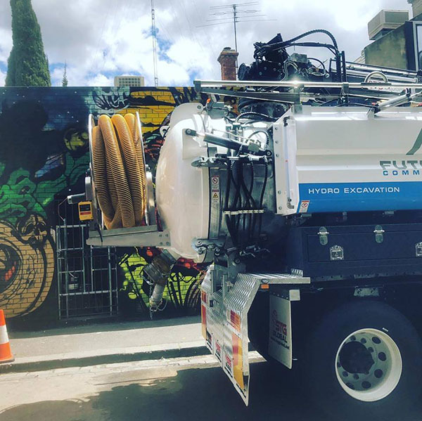 Hydro Excavation Truck with yellow hose