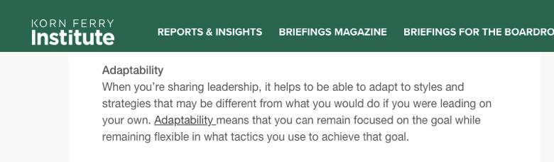 korn ferry institute - cuando estas liderando, es util tener flexibilad en las estilos e estrategias que usas