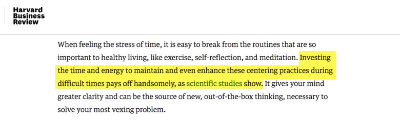 harvard business review - invertiendo tiempo e energia en practicas como meditación es clave