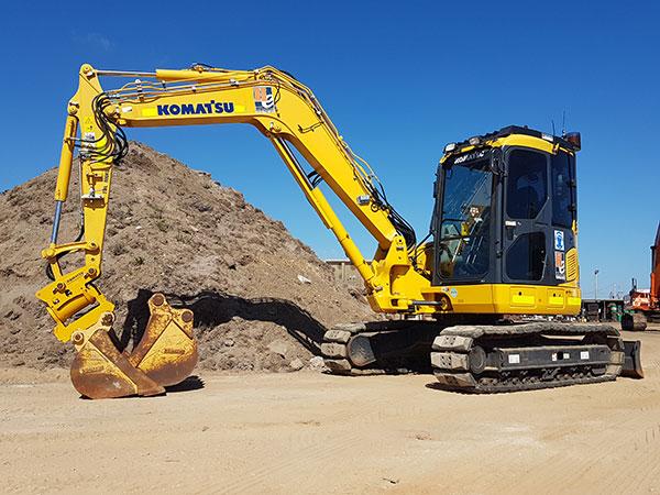 Hawe Earthmoving Komatsu 2014 PC88-8MO Excavator for hire Bundaberg