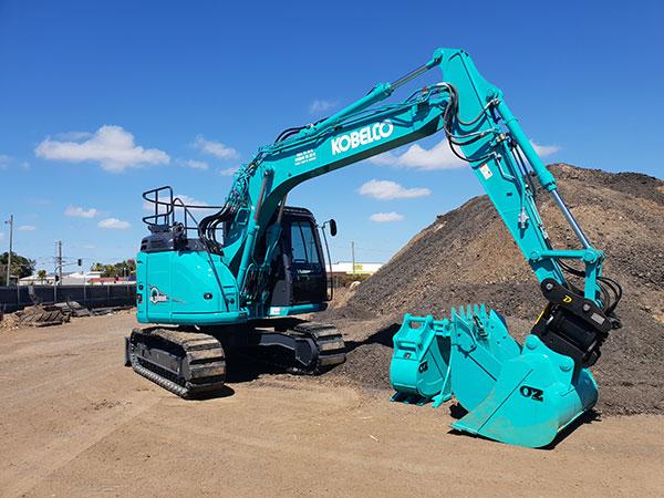 Hawe Earthmoving Kobelco 2014 and 2018 135SR Mark 8 Standard Excavator for hire Bundaberg