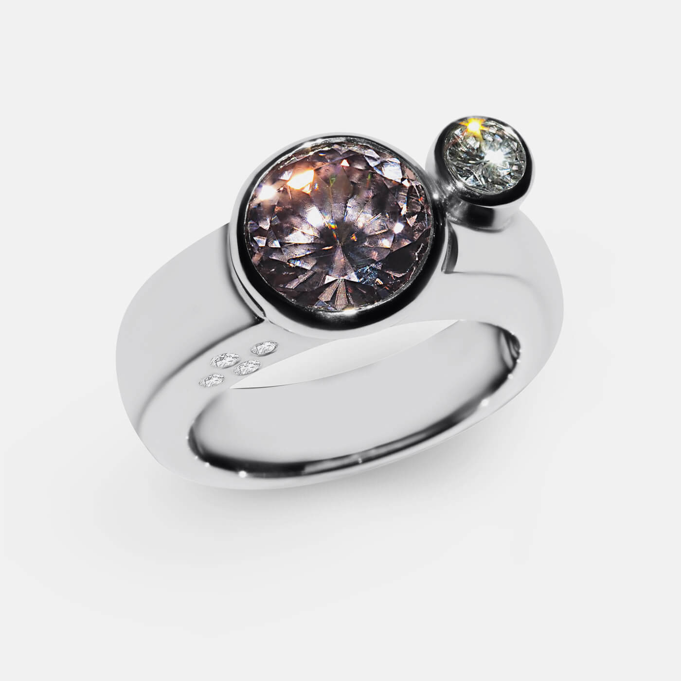 Mauve Zircon Dress Ring