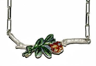 Roman glass and sterling silver neckpiece by Robyn Wernicke.