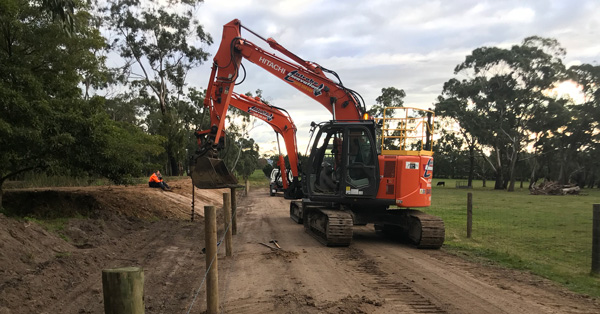 Latrobe Excavations Posi-Track at excavation project in Rosedale