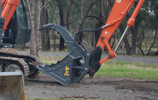 Latrobe Excavations Excavator with Log Grab Attachment