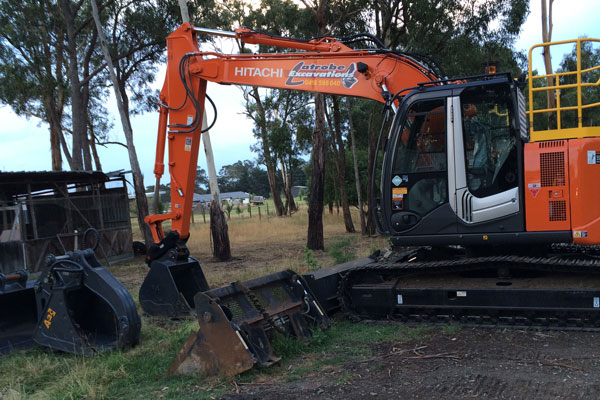 Latrobe Excavations Land Clearing compactor in Rosedale