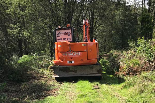 Latrobe Excavations Land Clearing excavators onsite in Rosedale