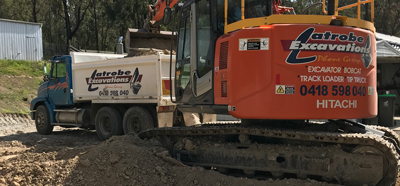 Latrobe Excavations Tipper Truck Hire and Plant Hire range in the Latrobe Valley
