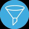 Amayaco lean startup con icono de embudo.