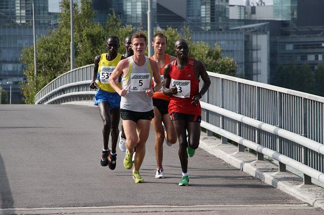 marathon runners in a pack