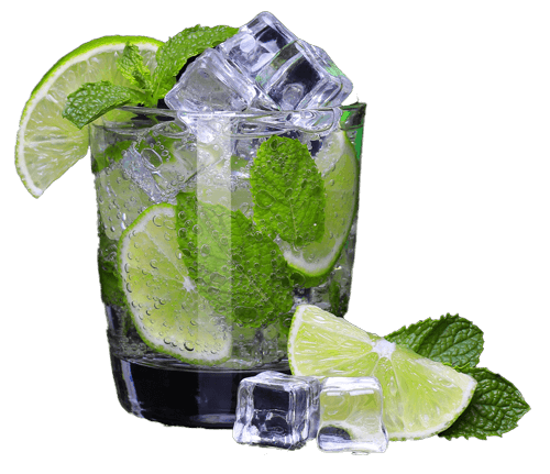A matcha mojito served over ice with mint