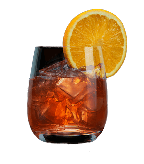 Blood Orange Old Fashioned cocktail served over ice with a slice of orange