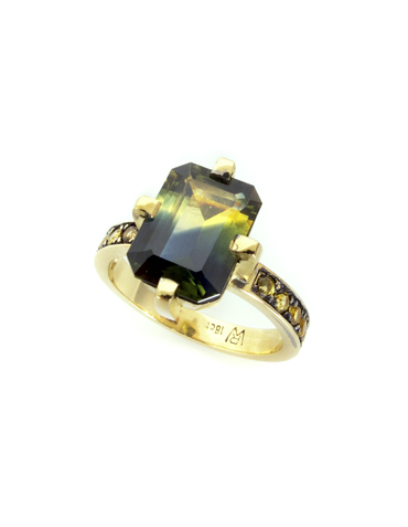 Parti Sapphire ring for the party season in 18ct yellow gold by Robyn Wernicke.
