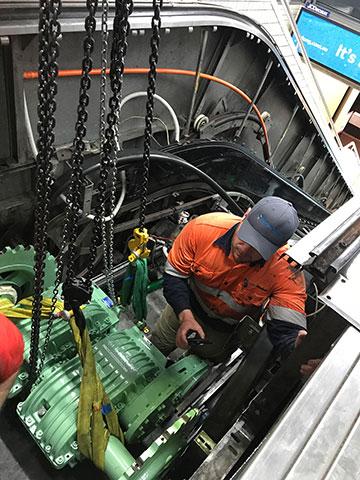precise-rigging-escalator-motor-install