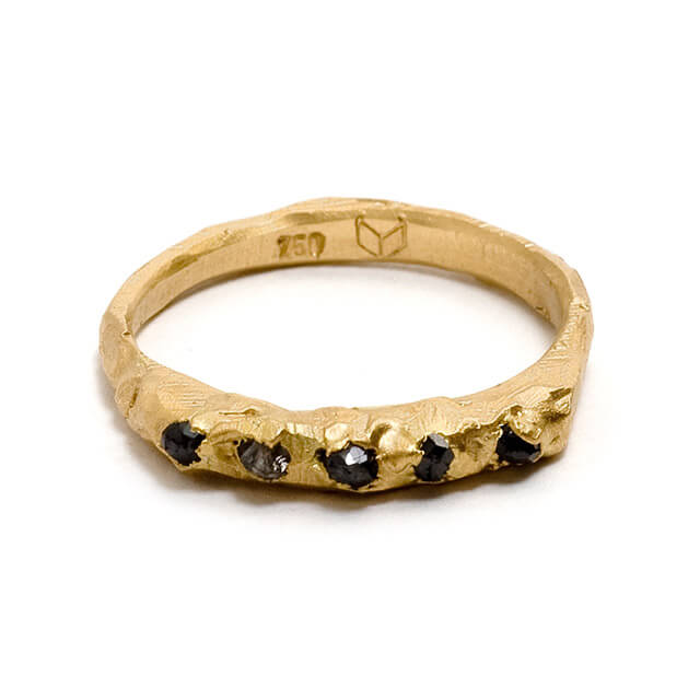 Tessa Blazey | Black diamonds & 18ct yellow gold | Unique handmade engagement ring | Melbourne | bespoke wedding ring