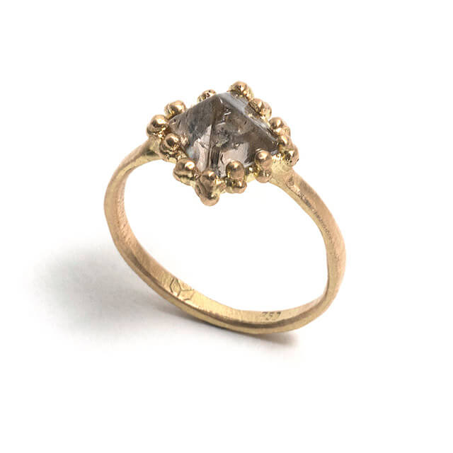 Tessa Blazey | Rough diamond & 18ct yellow gold | | Unique handmade engagement ring | Melbourne | bespoke ring