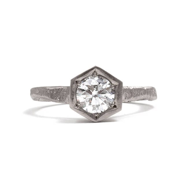 Tessa Blazey | White diamond & 18ct white gold | | Unique handmade engagement ring | Melbourne | bespoke ring