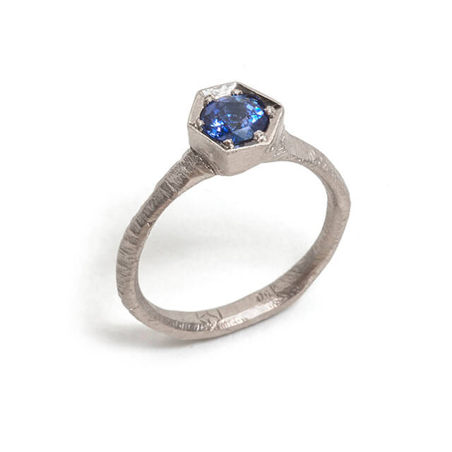 Tessa Blazey |  Ceylon sapphire & 18ct white gold | Unique handmade engagement ring | Melbourne | bespoke ring