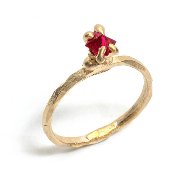Tessa Blazey | Spinel & 9ct yellow gold | Unique handmade engagement ring | Melbourne | bespoke ring