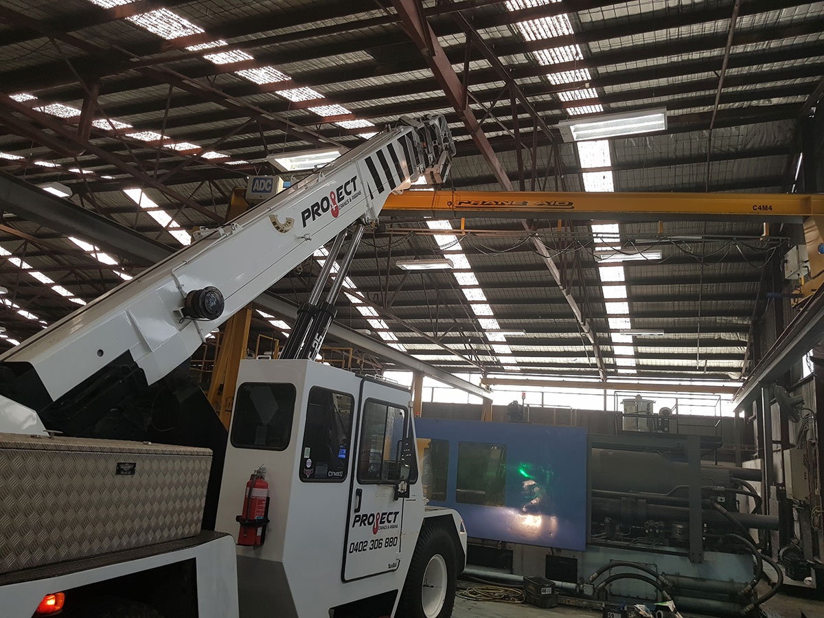 Project Cranes & Rigging franna crane hire in hangar Melbourne