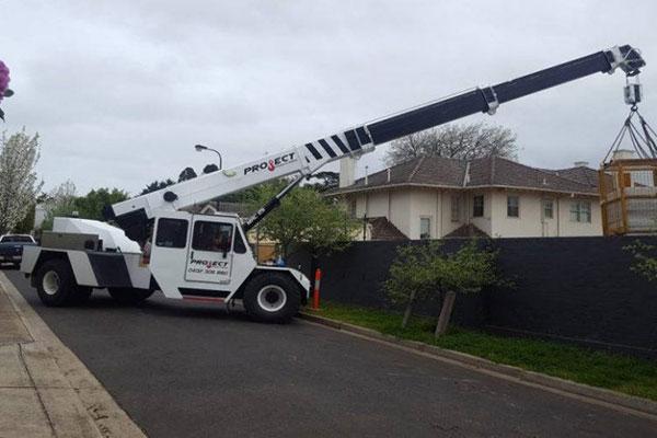 Project Cranes & Rigging franna crane hire lifting cage Melbourne
