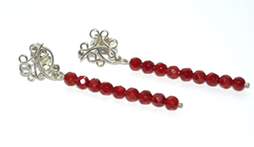 Red sea bamboo and sterling silver stud drops by Robyn Wernicke.