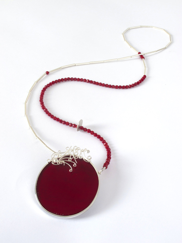 Red glass filagree neckpiece.