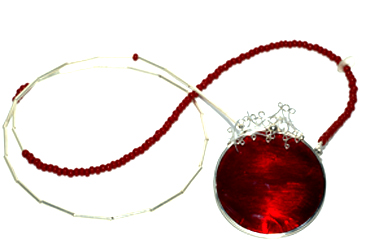 Red glass fillagree and sterling silver long neckpiece by Robyn Wernicke.