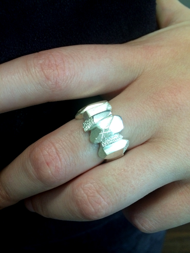 Silver rock man ring, nice for the ladies too. By Robyn Wernicke.