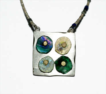 Roman glass and sterling silver neckpiece by Robyn Wernicke.