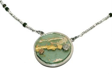 Roman glass disc neck piece by Robyn Wernicke.