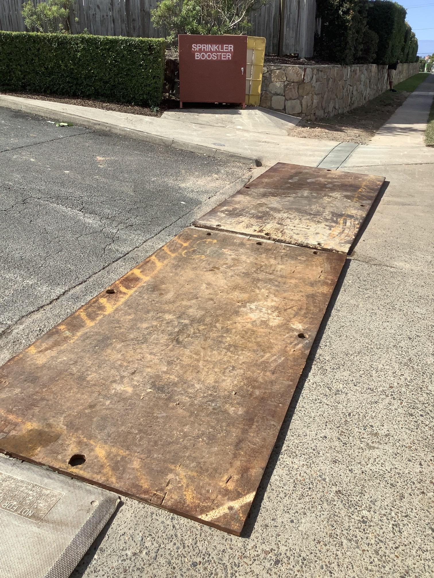 scopecranes steel road plate hire on construction driveway