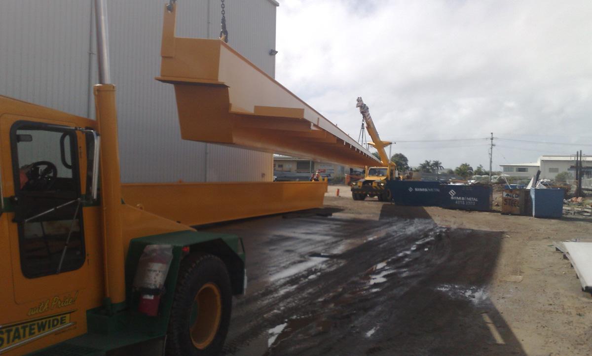 dual franna crane lifting steel girder