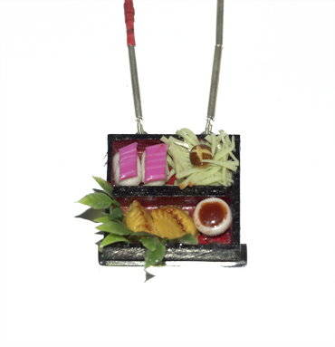 Bento box, wood, fimo, silver neckpiece by Robyn Wernicke.