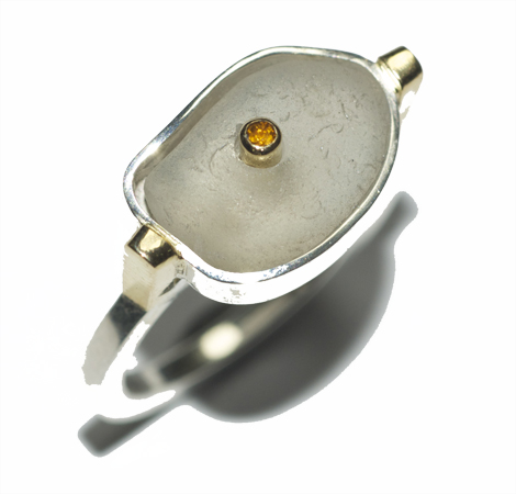 Silver, 18ct yellow gold, beach glass and citrine ring by Susan Ewington.