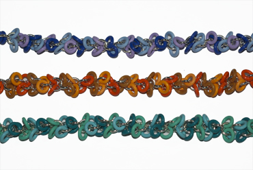 A riot of colour, o ring and silver bracelets by Tamara Dixon.