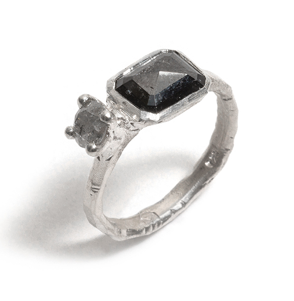 Tessa Blazey | Grey & black diamonds & sterling silver | Unique handmade engagement ring | Melbourne | bespoke ring