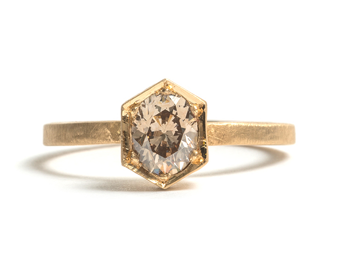 Tessa Blazey | Champagne diamond & 18ct yellow gold | Unique handmade engagement ring Melbourne | Australian Contemporary